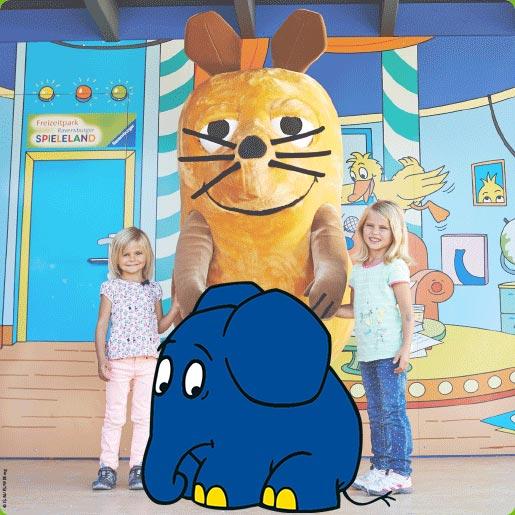 Maus und Elefant Erlebniswelt_Bild_Mausstudio mit Maus und Kinder